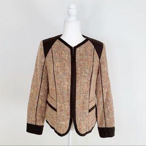 DONCASTER brown silk tweed zip up blazer